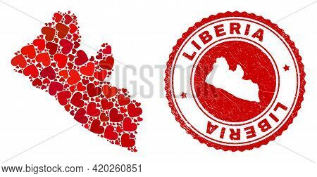 Collage Liberia Map Designed With Red Love Hearts, And Rubber Seal Stamp. Vector Lovely Round Red Ru