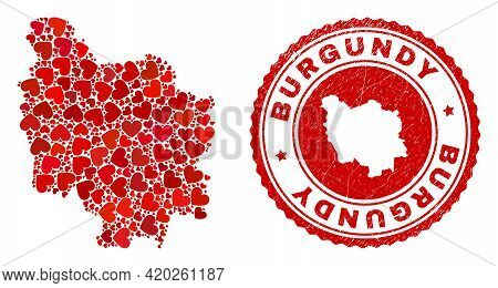 Collage Burgundy Province Map Formed From Red Love Hearts, And Rubber Seal. Vector Lovely Round Red