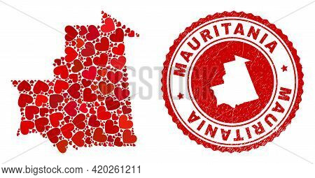 Collage Mauritania Map Designed With Red Love Hearts, And Textured Seal. Vector Lovely Round Red Rub