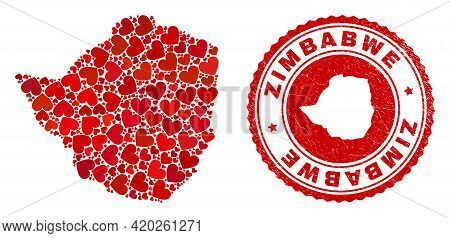 Collage Zimbabwe Map Composed With Red Love Hearts, And Rubber Seal Stamp. Vector Lovely Round Red R