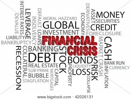 Financial Crisis Word Cloud Illustration