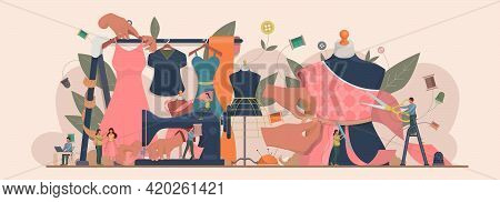 Fashion Or Clothes Designer Concept. Tiny Tailor Masters Sewing Clothes And Working With A Mannequin
