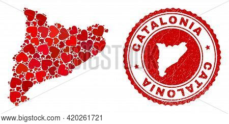 Collage Catalonia Map Created From Red Love Hearts, And Dirty Seal Stamp. Vector Lovely Round Red Ru