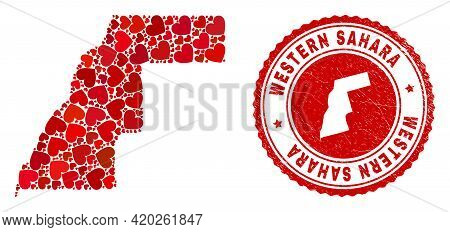 Mosaic Western Sahara Map Created With Red Love Hearts, And Rubber Stamp. Vector Lovely Round Red Ru