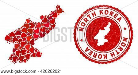 Collage North Korea Map Composed With Red Love Hearts, And Rubber Seal. Vector Lovely Round Red Rubb