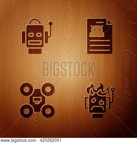 Set Robot Burned Out, , Drone And Technical Specification On Wooden Background. Vector