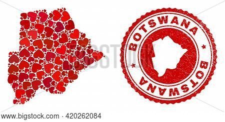 Mosaic Botswana Map Formed With Red Love Hearts, And Textured Seal Stamp. Vector Lovely Round Red Ru