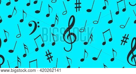 Seamless Flying Musical Notes On Blue. Musical Symbols For Banner Of Festival, Print Design, Melody