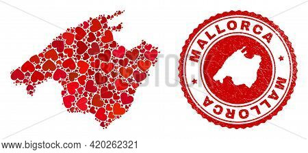 Mosaic Mallorca Map Designed From Red Love Hearts, And Rubber Stamp. Vector Lovely Round Red Rubber