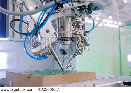 Automated Technology, Industrial, Robotic, Electronic, Production, Manufacturing Concept. Close Up: