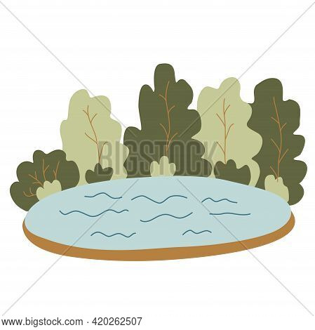 Lake Surrounded By Forest. Summer Landscape. Hand Drawn Flat Vector Illustration Isolated On White B