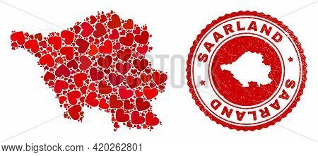 Mosaic Saarland Land Map Created With Red Love Hearts, And Scratched Seal Stamp. Vector Lovely Round