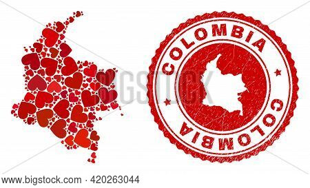 Collage Colombia Map Formed With Red Love Hearts, And Unclean Seal Stamp. Vector Lovely Round Red Ru