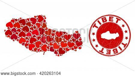 Collage Tibet Map Designed With Red Love Hearts, And Corroded Seal Stamp. Vector Lovely Round Red Ru