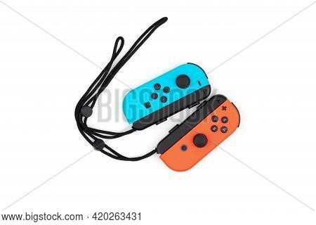 Rostov-on-don, Russia - April 2021. Joystick  Nintendo Switch On A White Background. Handheld Game C