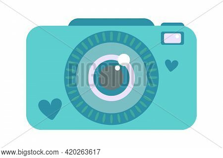 Cute Compact Photo Instant Camera With Hearts In Simple Flat Cartoon Style. Vector Illustration Clip