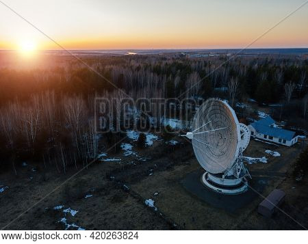Radio Telescope Satellite Dish, Pushino, Moscow Region, Aerial View.