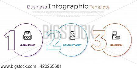 Set Line Waistcoat, Nerd Geek And Burger. Business Infographic Template. Vector