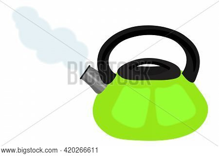 A Kettle For A Gas Stove. Kitchen Utensils, Household Appliances For Boiling Water, A Device For Mak