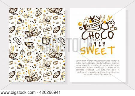 Sweet Choco Card Template, Sweet Chocolate Desserts Business Card, Brochure, Banner With Text Vintag