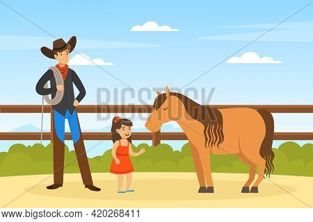 Cowboy Character Working On Farm, Male Farmer And Cute Little Girl Caring For Pony Horse On Summer L
