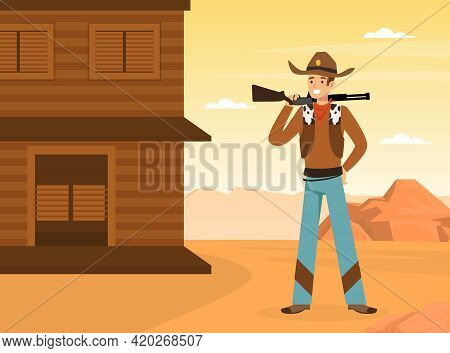 Wild West Concept, Cowboy With Rifle Standing At Saloon Building On Desert Landscape Vector Illustra