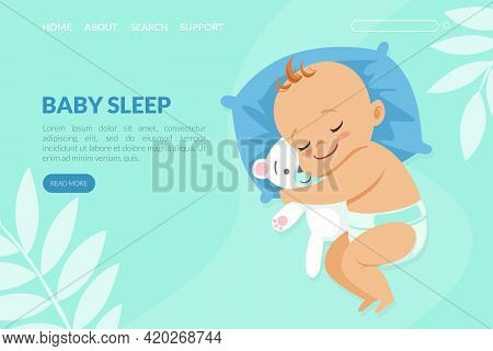 Baby Sleep Landing Page Template, Adorable Baby In Diaper Sleeping On Pillow Website, Web Page Desig
