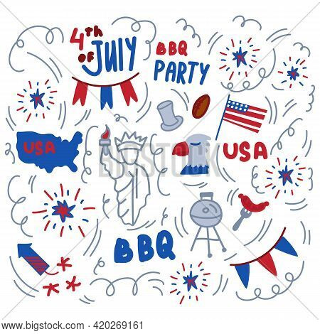 Happy Us Independence Day Background. The National Holiday Is July 4. A Pattern With The Symbols Of