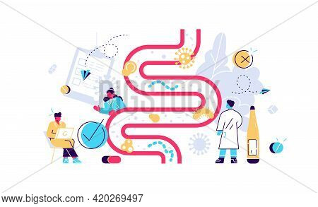 Intestinal Microflora With Good And Bad Bacteries