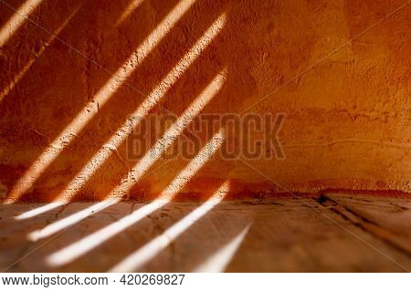 Bright Grunge Wall Texture. Grunge Vintage Stone Wall Texture Background With Orange Husks Texture,