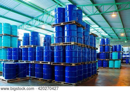 Industry oil barrels or chemical drums stacked up.chemical tank.container of barrels