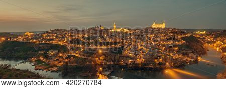 Aerial Drone Point Of View Illuminated With Night Street Lights Toledo Historical Picturesque City O