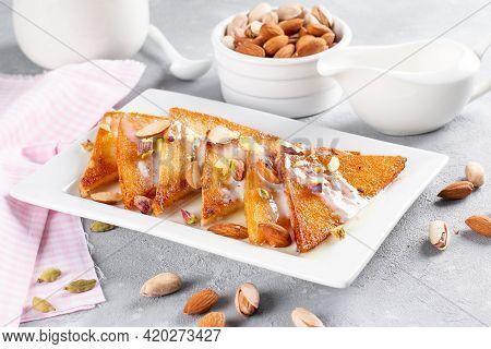 Shahi Tukra/tukda Or Double Ka Meetha Is A Bread Pudding Indian Sweet Of Fried Bread Slices Soaked I
