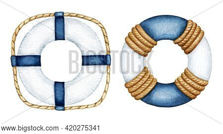 Watercolor Blue White Life Buoy Set. Safety Ring With Rope. Nautical Vessel Part, Rescue Equipment.