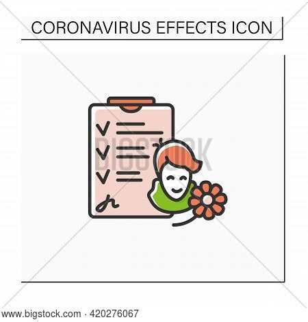 Recovered Patient Color Icon. Happy Healthy Immune Person With Hospital Dismissal Papers. Concept Of