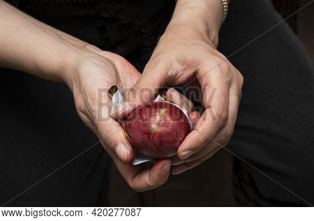 Female Hands Holding A Traditional Red Dyed Hen's Egg In The Process Of Creating A Festive Decoratio