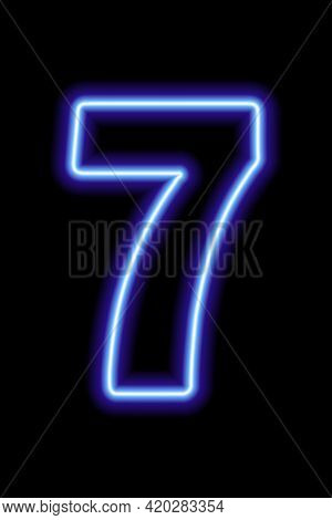 Neon Blue Number 7 On Black Background. Learning Numbers, Serial Number, Price, Place. Vector Illust