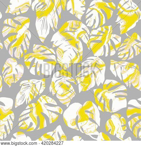 Trendy Halftones Seamless Pattern With Textured Tropical Leaves And Wave Marble Effect In Fashion To