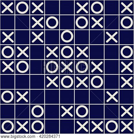 Tic Tac Toe Board Game Black And White Seamless Vector Pattern Design. Noughts And Crosses, Xs And O