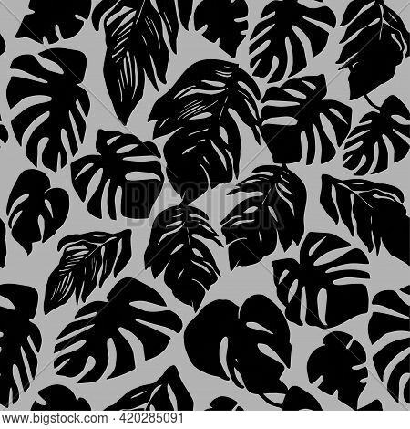 Trendy Vector Monochrome Seamless Pattern With Silhouettes Of Black Tropical Leaves For Apparel Fabr