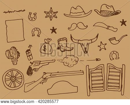 Wild West Vector Set. Hand-drawn Doodle-style Vintage Elements Of Wild Western Rodeo Cowboy Boots Wi