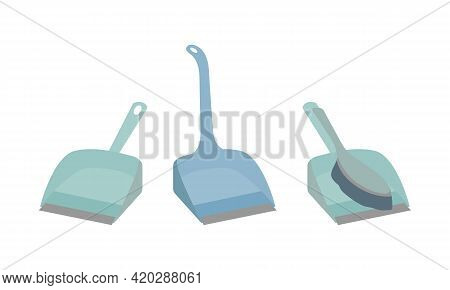 Scoops For Cleaning. Dustpan With Brush For Cleaning Dust And Dirt. Plastic Shovel With Handle For S