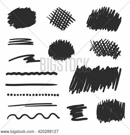 Hand Drawn Hatching. Abstract Simple Underlines By Hand. Black And White Illustration