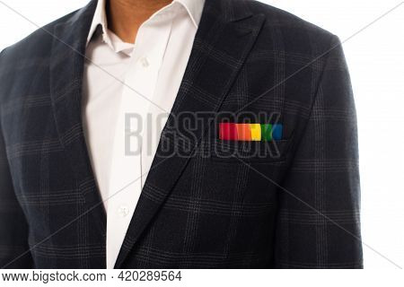 Cropped Of African American Businessman With Handkerchief In Rainbow Colors Isolated On White, Lgbt