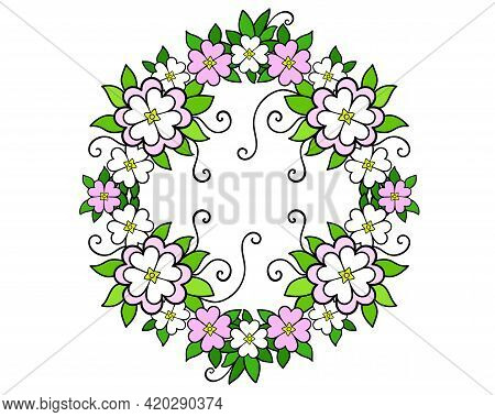 A Wreath Of Flowers And Leaves - Vector Full Color Illustration. Bright, Delicate Spring Wreath Of S