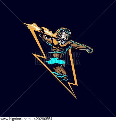 Zeus Lightning Insignia Vector Illustration E Sport Style Graphic.
