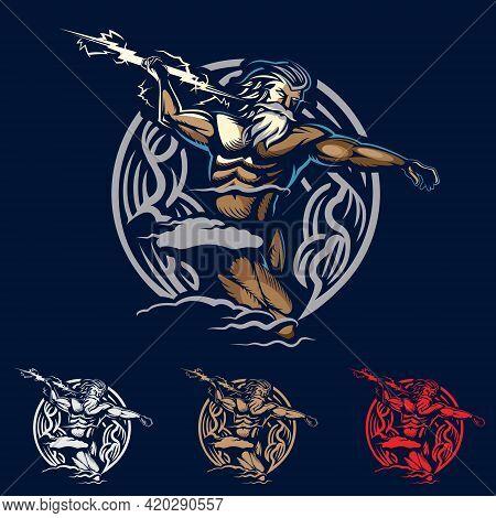 Zeus God Of Thunder Emblem Style Vector Illustration