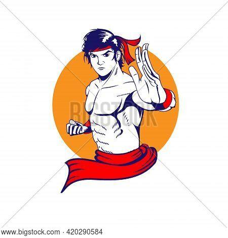 Kung Fu Man Symbol Version Vector Illustration