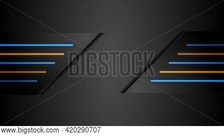 Black tech abstract design with blue and orange neon glowing light
