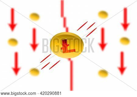 Litcoin Fall. Red Arrow Down With Gaussian Blur Effect Background. Litcoin Ltc Market Crash. Red Cha